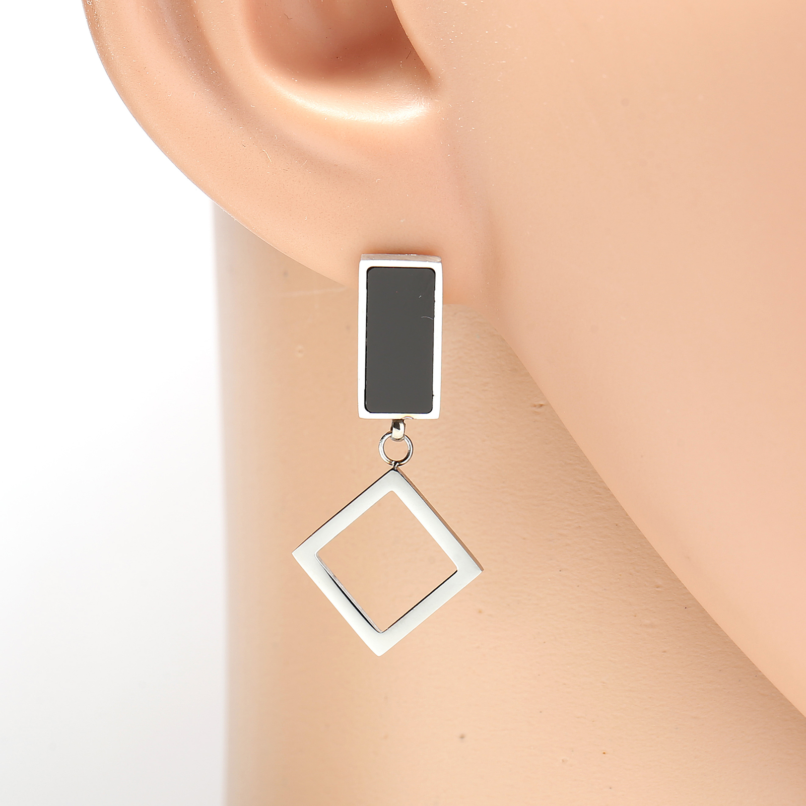 Primary image for Silver Tone Designer Drop Earrings, Jet Black Inlay & Dangling Geometric Accent