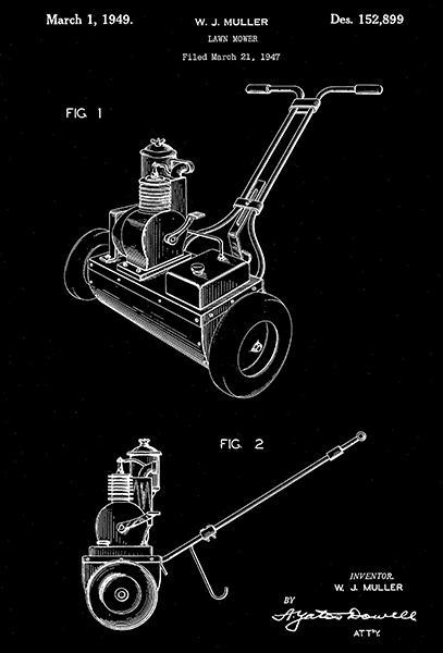Primary image for 1949 - Lawn Mower - W. J. Muller - Patent Art Poster
