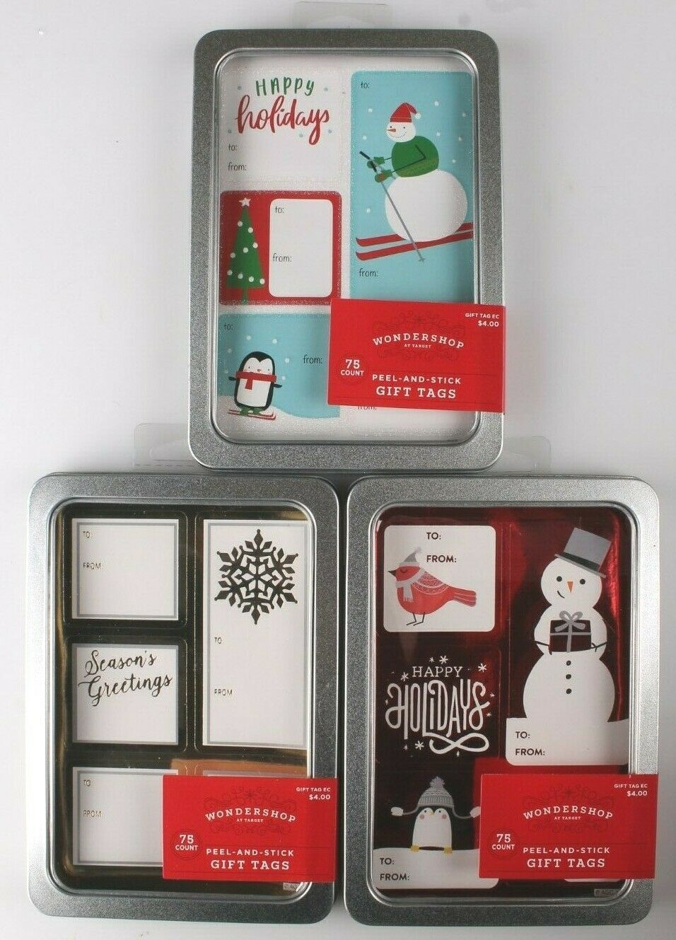 Lot of 3 Pack 75 Count Peel & Stick Holiday Christmas Gift Tags To From Stickers
