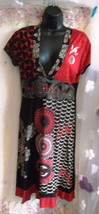 stunning Desigual Dress L-size 16 aprox UK, v-neck,knee length - $74.48