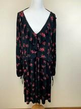 Torrid Plus Size 4 Black Floral Jersey Knit Skater Ruffle Trim Dress Ope... - $29.99