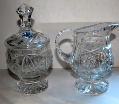 LEAD CRYSTAL LIDDED SUGAR CREAMER  SET VGC HIGH QUALITY SPARKLY BRIGHT  ... - $39.99
