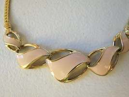 "Trifari Enamel Necklace Bib Pendant Chain Gold Plated Peach Pink 17"" Col... - $18.80"