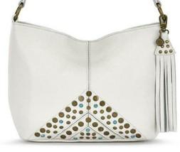 The Sak NWT $149 Stone Ivory Shoulder Bucket Bag Medium Stud Top Zip Tas... - $78.21