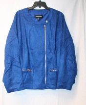 NEW WHO WHAT WHERE WOMENS PLUS SIZE 4X BLUE MOD MOTO MOTORCYCLE JACKET COAT - $33.85