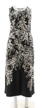 Isaac Mizrahi Engineered Floral Sleeveless Maxi Scoop Neck Black S NEW A... - $46.51