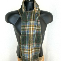 Polo Ralph Lauren Mens Green Gray Plaid Lambs Wool Scarf Fringe Made in ... - £45.32 GBP
