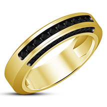 Women's Band Wedding Ring Round Cut Black CZ 14k Yellow Gold Plated 925 ... - $83.99