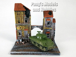 "M4 Sherman Tank 1/100 Scale Diecast Model and ""The Chateau"" Diorama Display - $34.64"