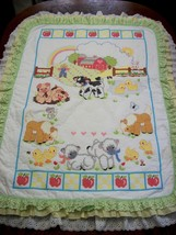 "Hand Quilted & X Stitched ""DOWN ON THE FARM"" Baby Quilt Crib Cover add name - $159.99"