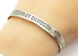HARLEY DAVIDSON 925 Silver - Vintage Etched Motorcycle Logo Cuff Bracele... - $74.71