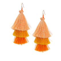 The Cats Pajama Marigold Ombre Fringe Tassel Drop Earrings - $42.00
