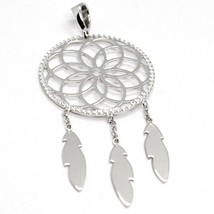 18K WHITE GOLD DREAMCATCHER PENDANT, FEATHER, MADE IN ITALY, 1.8 INCHES, 45 MM image 2