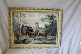 Vintage Paint By Number Large Framed Horse Draw... - $78.98