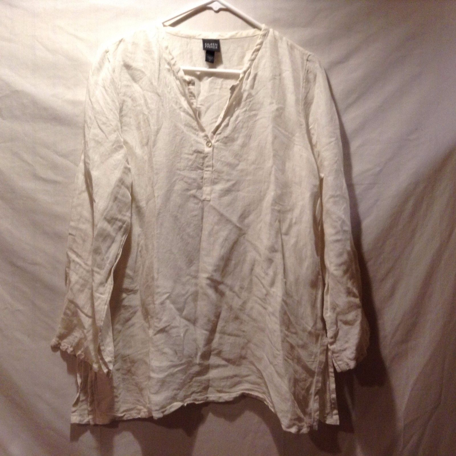 Eileen Fisher Cream Colored V Neck Linen Silk Blouse Sz M