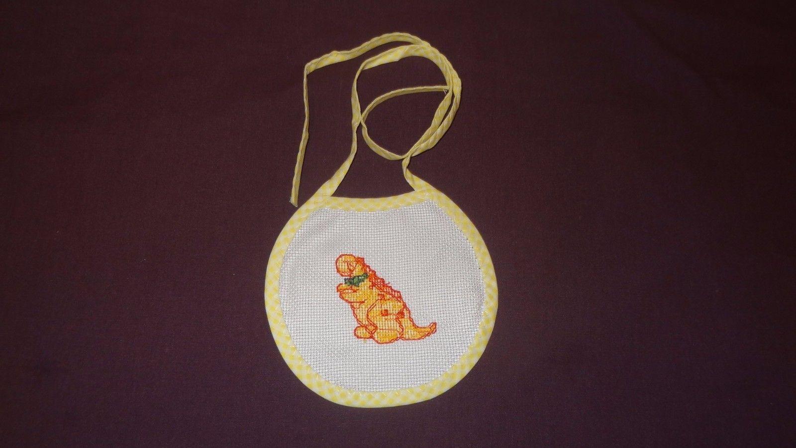 New Dinosaur Bow Tie Bib Baby girl boy unisex Handmade Finished Cross Stitch
