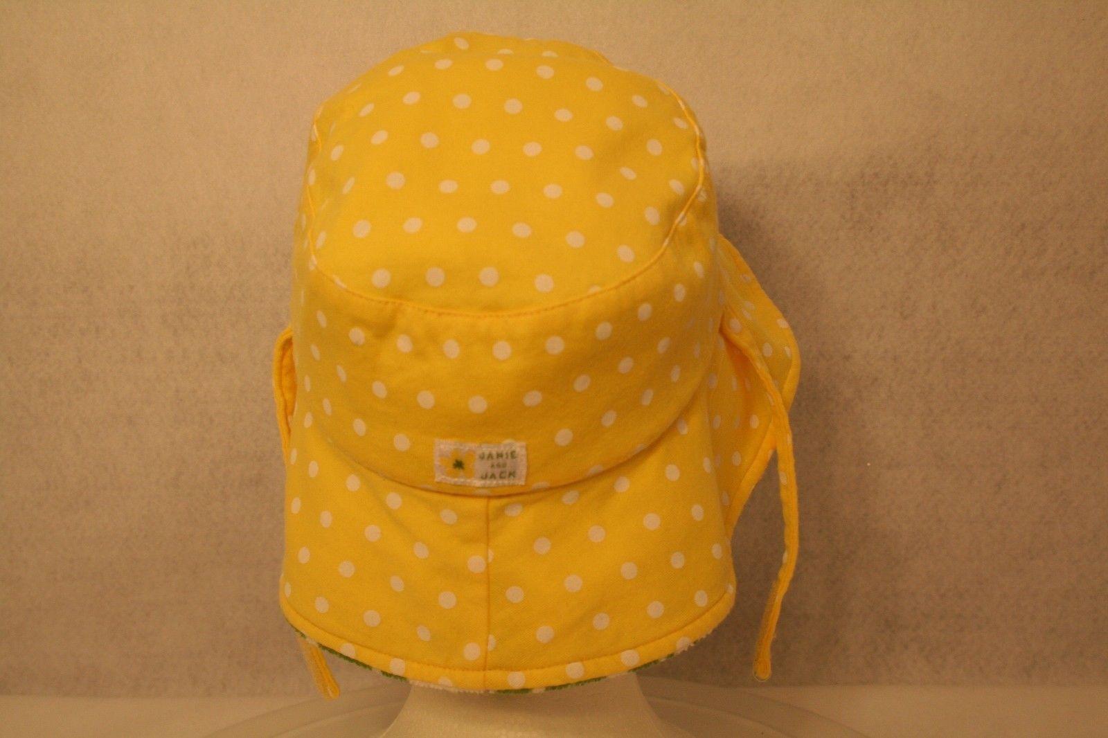 Janie & Jack Child Reversible Sun Hat Green daisy yellow polka dot w/adjust ties image 3