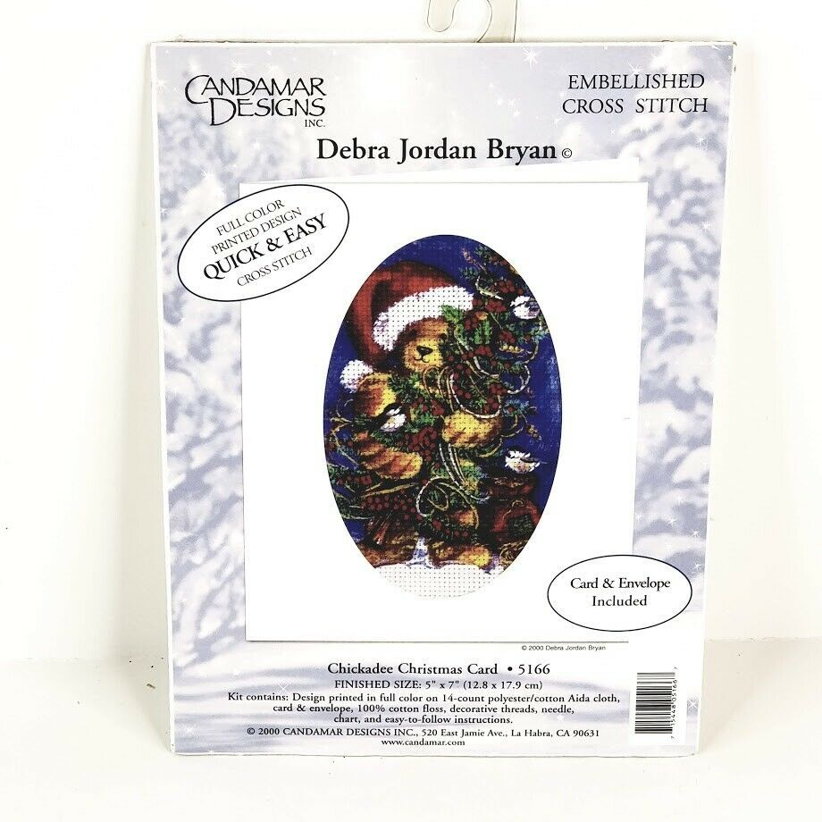 Candamar Designs Embellished Cross Stitch Kit Chickadee Christmas Card 5166 NOS - $9.99