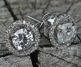 4CT. Diamond Simulant Round HALO Jacket Stud Ea... - $21.49