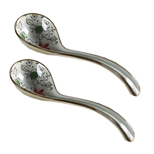 Primary image for Kylin Express 2 PCS Creative Medium Ceramic Asian Chinese Soup Spoons Dinner Ser