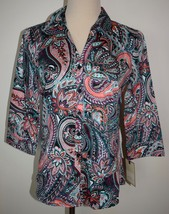 New Dana Buchman Small Cotton Blouse Button-Front Shirt 3/4 Sleeve Paisl... - $19.34
