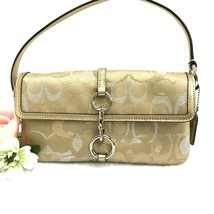 COACH Madison Lurex Signature Flap Handbag - Gold & Silver - Style 10455... - $54.44