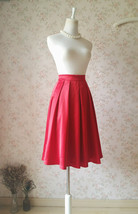 Classic Christmas Red Calf Length Pleated Skirt Lady Plus Size Taffeta Skirt - $55.00
