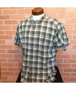 Patagonia Mens XL Shirt Plaid Button Front Short Sleeve Gray Black (M55) - $17.81
