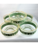 "Lot of 5 Jeannette Glass green Hellenic 4"" fruit nappy bowls Grecian motif - $15.89"