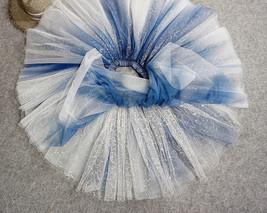 Women Girl Frozen Tutu Skirt Silver Blue Layered Puffy Tutu Skirt image 7