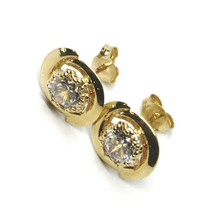 18K YELLOW GOLD BUTTON EARRINGS CUBIC ZIRCONIA, OVAL WAVE WORKED FRAME, 10 MM image 2