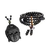 CrystalTears Mala Beads 108 Buddha Head Amulet Necklace Bracelet Set Tig... - $24.66