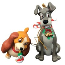 Lot of 2 Grolier Disney Lady and the Tramp Candy Cane Christmas Ornaments - $24.74