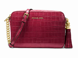 Michael Kors Ginny Crocodile Croc Embossed Leather Crossbody Bag Mulberr... - $126.03
