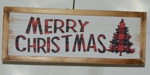 Ganz EX25448 Rustic Buffalo plaid Merry Christmas Wooded Sign