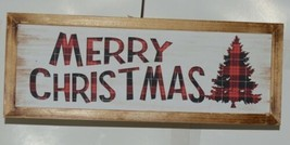 Ganz EX25448 Rustic Buffalo plaid Merry Christmas Wooded Sign image 1