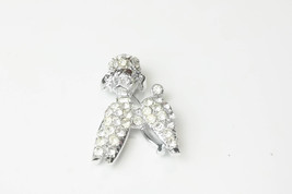 1950's Vintage Rhodium Plate Rhinestone Poodle Dog Brooch Costume Jewelry Gift  - $15.00