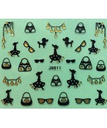 BANG STORE Nail Art 3D Decal Stickers Poodle Purse Sunglasses Girl in Ha... - $3.68