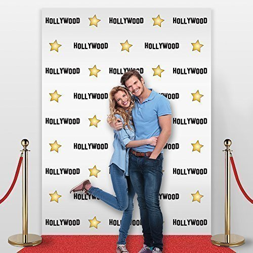 Adjustable Banner Stand 10' X 7', Hollywood Star Themed Step and Repeat Photogra