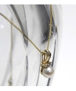 """Elegant 14K Yellow Gold 7mm Pearl Necklace with .25 Diamonds 16"""" Box Chain 3.4 g - $382.50"""