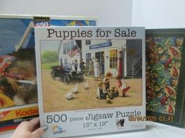 3 Jigsaw Puzzles 500-550  Piece Puppies, Xmas Ornaments, Sunbathing Pup - $15.84