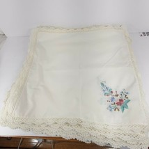 """Vintage Embroidered Crocheted 12 Linen Table Place Mats 16.5x16"""" (cs) - $39.55"""