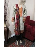 Pakistani Beige Printed Straight Shirt 3-PC Lawn Suit w/ Threadwork ,Small - $54.45