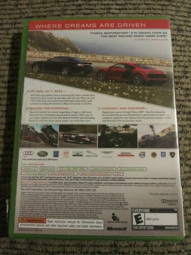 Forza Motorsport 3 (Microsoft Xbox 360, 2009) Rated E w/ Download NIP
