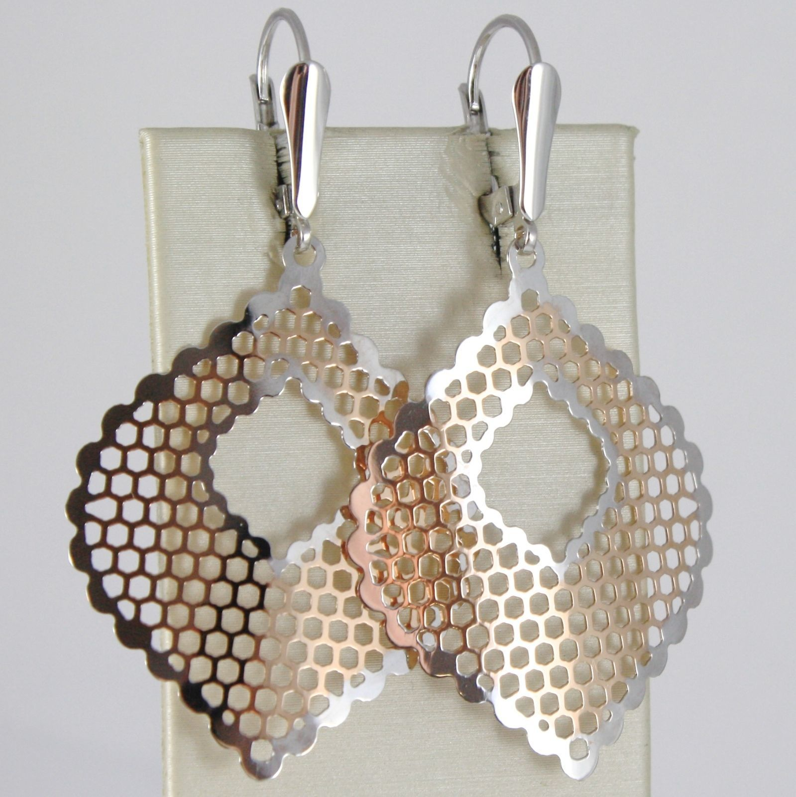 Gold Earrings Pink White 750 18k Hanging, Leaf Pattern ~ ,Honeycomb, 5.3 Cm
