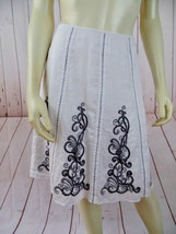 Ann Taylor Petites Skirt 4P White Cotton Lined Embroidery ZigZag Stitch ... - $28.71