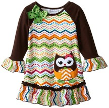 Bonnie Jean Little Girls 4-6X Brown/Multi Owl Chevron Stripe L/S Knit Dress