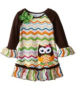 Bonnie Jean Little Girls 4-6X Brown/Multi Owl Chevron Stripe L/S Knit Dress - $32.90