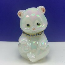 Fenton glass teddy bear figurine birthday sculpture milk necklace signed... - $91.76
