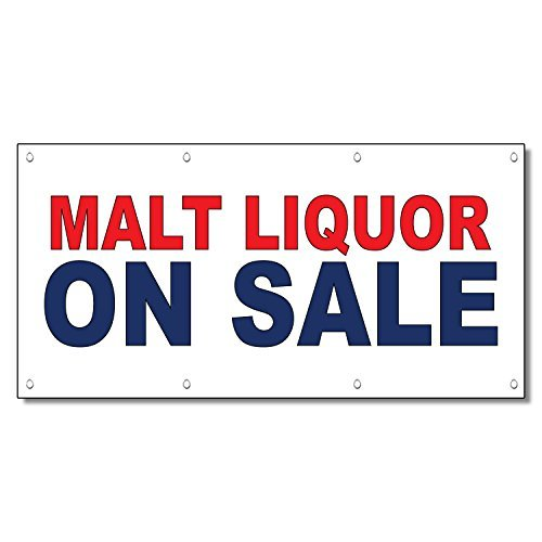 Malt Liquor On Sale Red Blue 13 Oz Vinyl Banner Sign With Grommets 3 Ft x 6 Ft